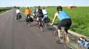 Bicyclists in Wisconsin Farmland