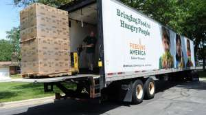 Feeding America Eastern Wisconsin employee moves a pallet of food