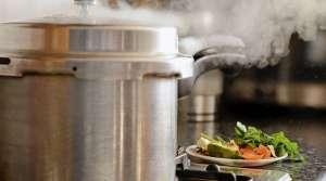 Pressure cooker on stovetop