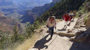 Hikers head out of the Grand Canyon along the Bright Angel Trail at Grand Canyon National Park