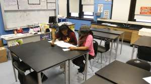 Student working on a practice ACT test