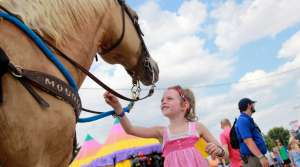 Girl at the Wisconsin State Fair touching a horse
