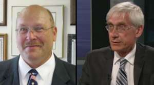 Lowell Holtz, left, and Tony Evers