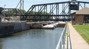 Barges in a lock and dam on the upper Mississippi River