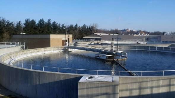 Tanks at the city of Waukesha wastewater treatment plant