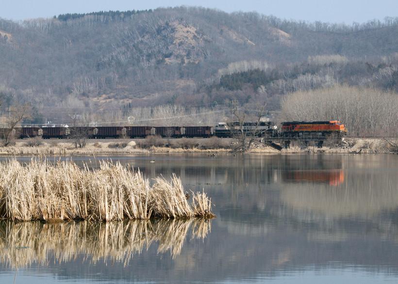 train travels in La Crosse River Marsh