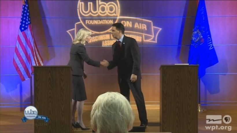 Mary Burke and Gov. Scott Walker at the Oct. 10 debate