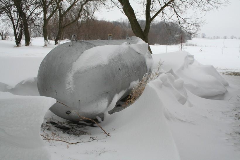 propane tank in winter