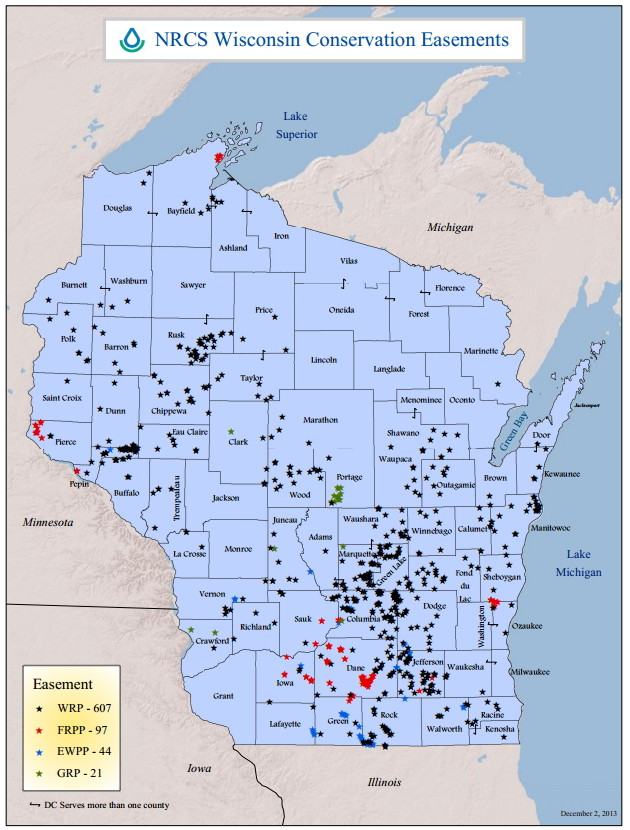 Natural Resources Conservation Service map of easements, Dec 2013