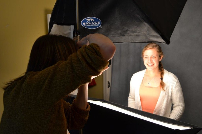 Rachel Crowl takes a picture of Lawrence University senior Taylor Tomaszewski.