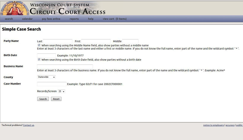 Wisconsin Circuit Courts Access Website