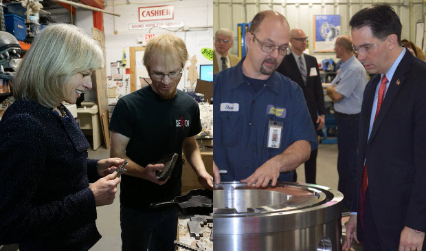 Mary Burke and Scott Walker tour manufacturing facilities