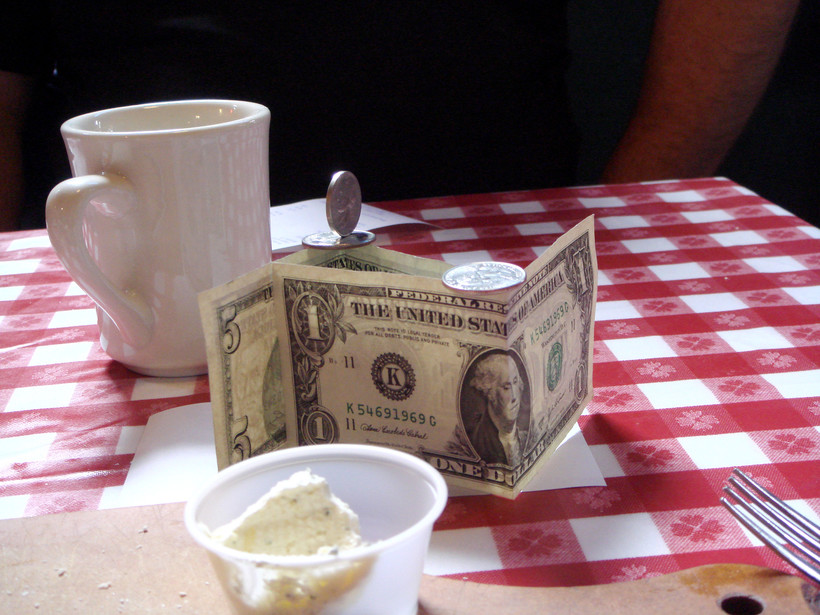 Tip on table at a restaurant