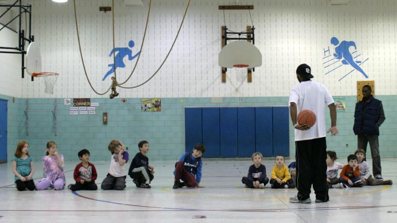 Kids on basketball court