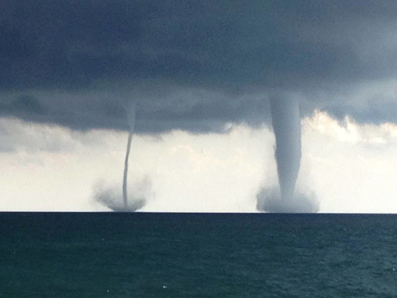 water spouts, photo by Officer Michael Madsen of the Kenosha Police Department