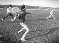 Person playing frisbee