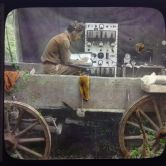 Recording equipment in a wooden truck in a swamp
