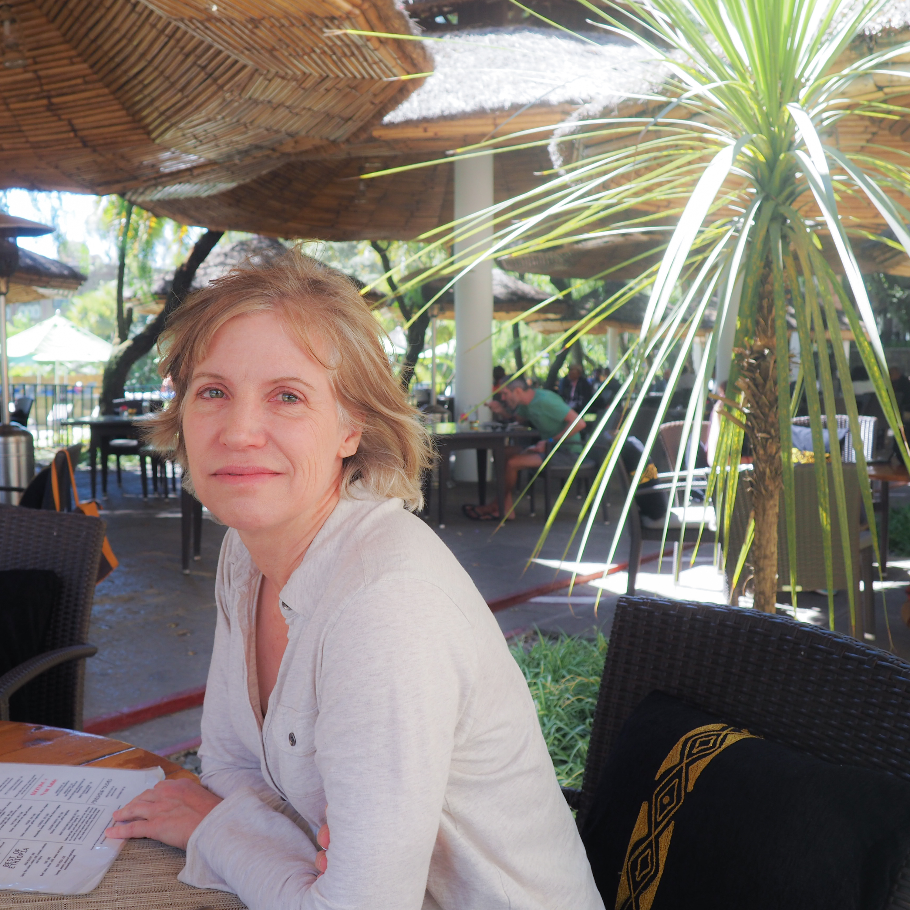 Anne takes a break at the historic Addis Hilton