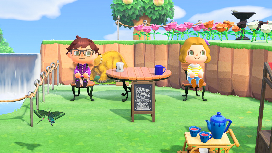 Anne interviews Mark in his coffee shop. While the series has been running since 2001, this is the first entry in the series that allows customization of the entire island. <em>Nintendo/Mark Riechers (TTBOOK)</em>