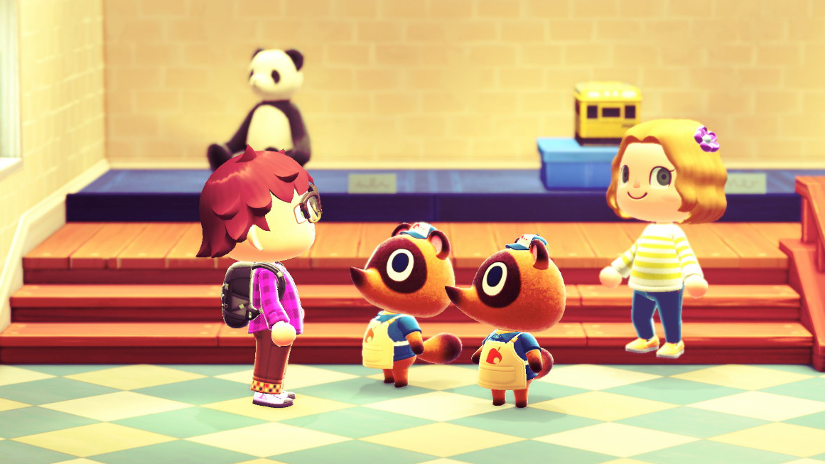 Mark talks with Timmy and Tommy Nook, the two young entrepreneurs who run the general store on your island. They will purchase literally anything. <em>Nintendo/Mark Riechers (TTBOOK)</em>