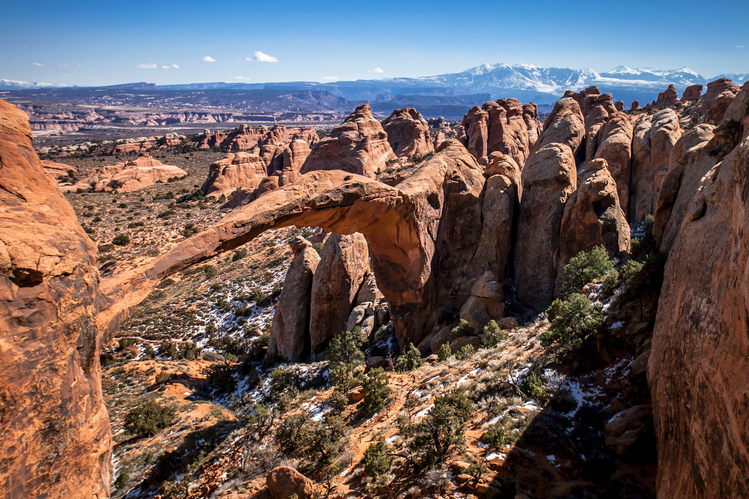 Landscape Arch and LaSal Mountains. <em>Jacob W. Frank (NPS)</em>
