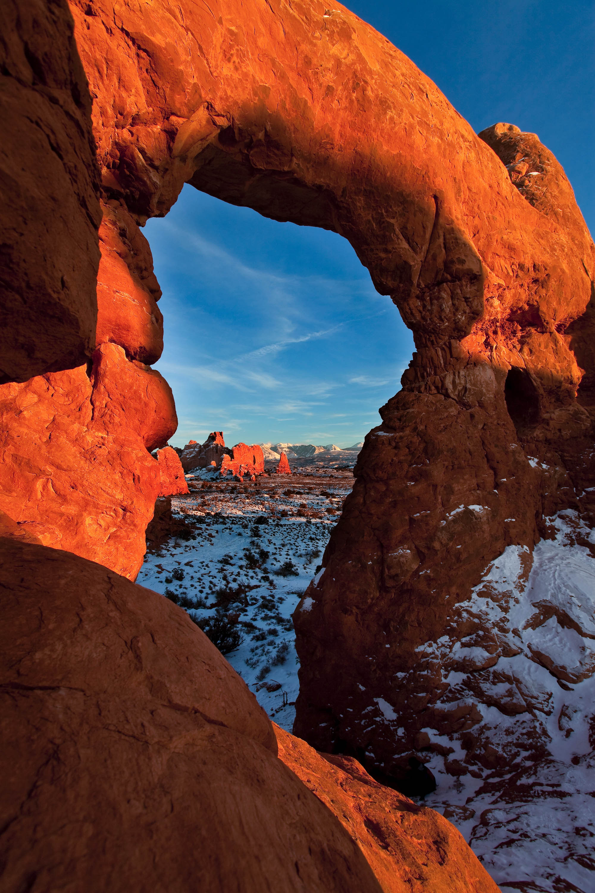 La Sals Framed by Turret Arch.&nbsp;<em>Jacob W. Frank(NPS)</em>&nbsp;