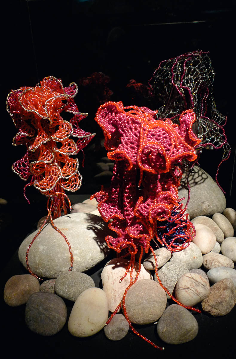 "Beaded hyperbolic jellyfish (by Vonda N. McIntyre) from the ""Crochet Coral Reef"" project by Christine and Margaret Wertheim and the Institute For Figuring."