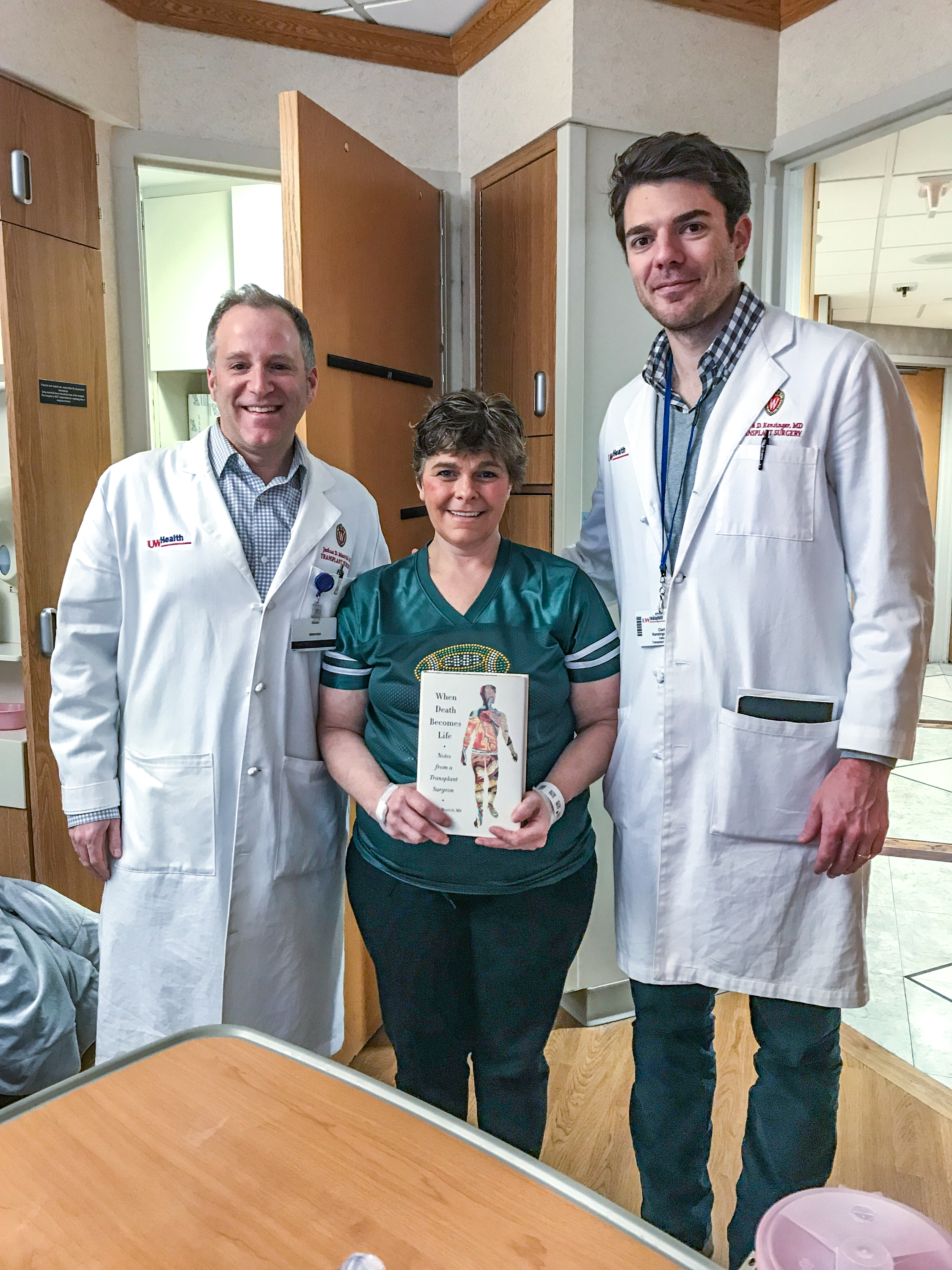 Left to right: transplant surgeon Josh Mezrich, donor Missy Makinia, and transplant fellow Clark Kensinger. <em>(UW Health)</em>