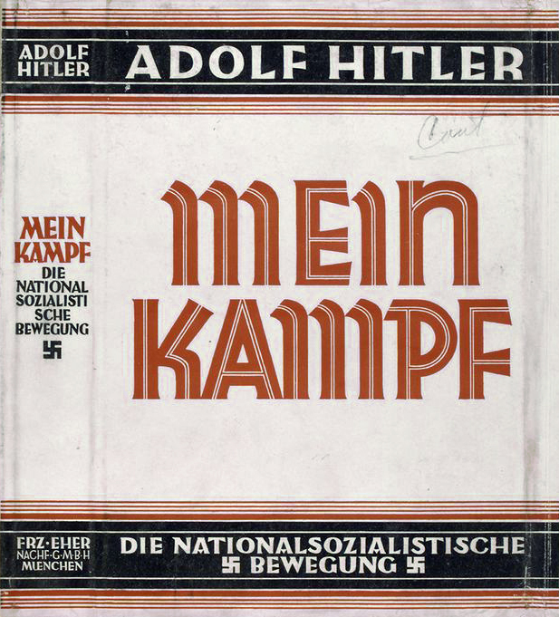 "Dust jacket of the book ""Mein Kampf,"" written by Adolf Hitler. <a href=""https://digitalcollections.nypl.org/items/510d47db-d033-a3d9-e040-e00a18064a99"" target=""_blank""><em>New York Public Library Digital Collection(CC0)</em></a>"