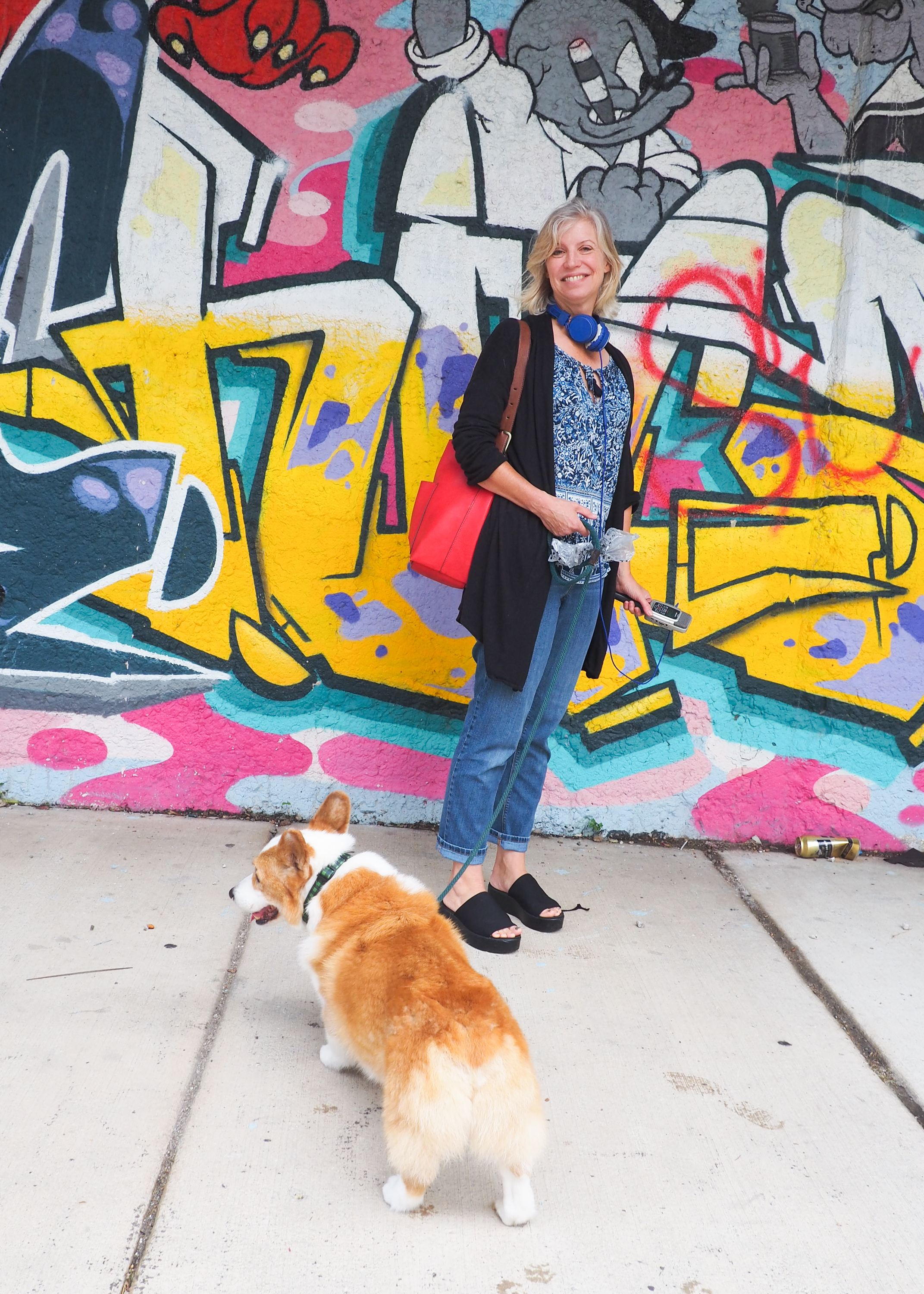 Anne and Toby near the entrance to the 606.  Love the mural!