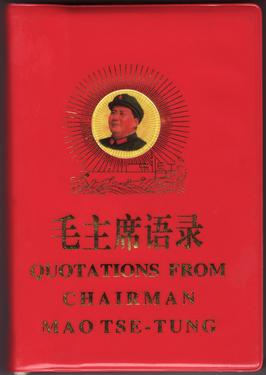"Book cover: ""Quotations from Chairman Mao Tse-Tung,"" 1966 Edition, bilingual Chinese-English, published by the People's Republic of China Printing Office (<a href=""https://en.wikipedia.org/wiki/File:Quotations_from_Chairman_Mao_Tse-Tung_bilingual.JPG"">Wikipedia</a>)"