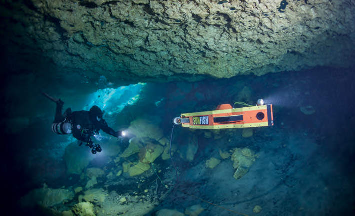 """A little glimpse into the future. The Sunfish robotic mapper, developed by Dr. Bill Stone's Stone Aerospace, made the first completely autonomous, 3-D map of a cave in the fall of 2017. Soon, it will be able to complete cave diving missions that are far beyond my reach."" <em>(Jill Heinerth)</em>"