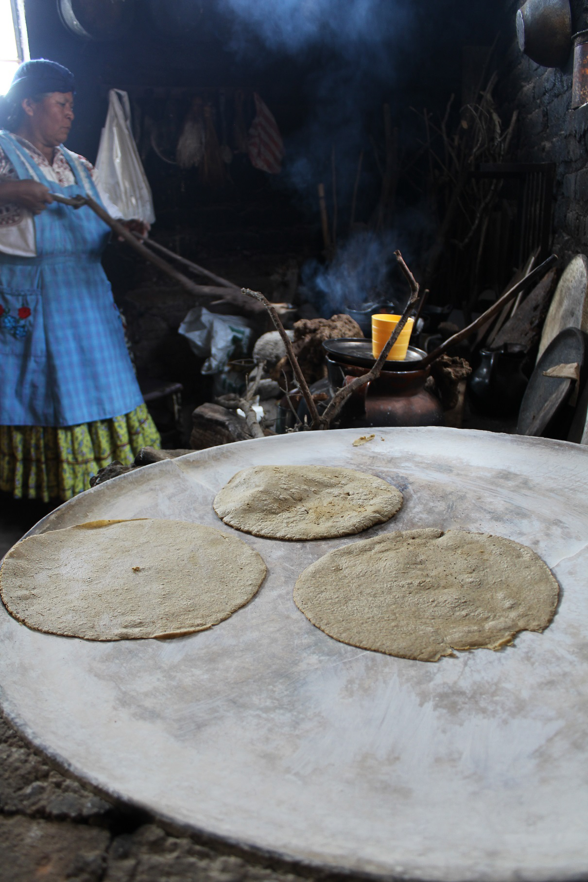 Tortillas made from freshly-ground masa cook on a&nbsp;comal&nbsp;inside a Mixe home. <em>Seth Jovaag (TTBOOK)</em>