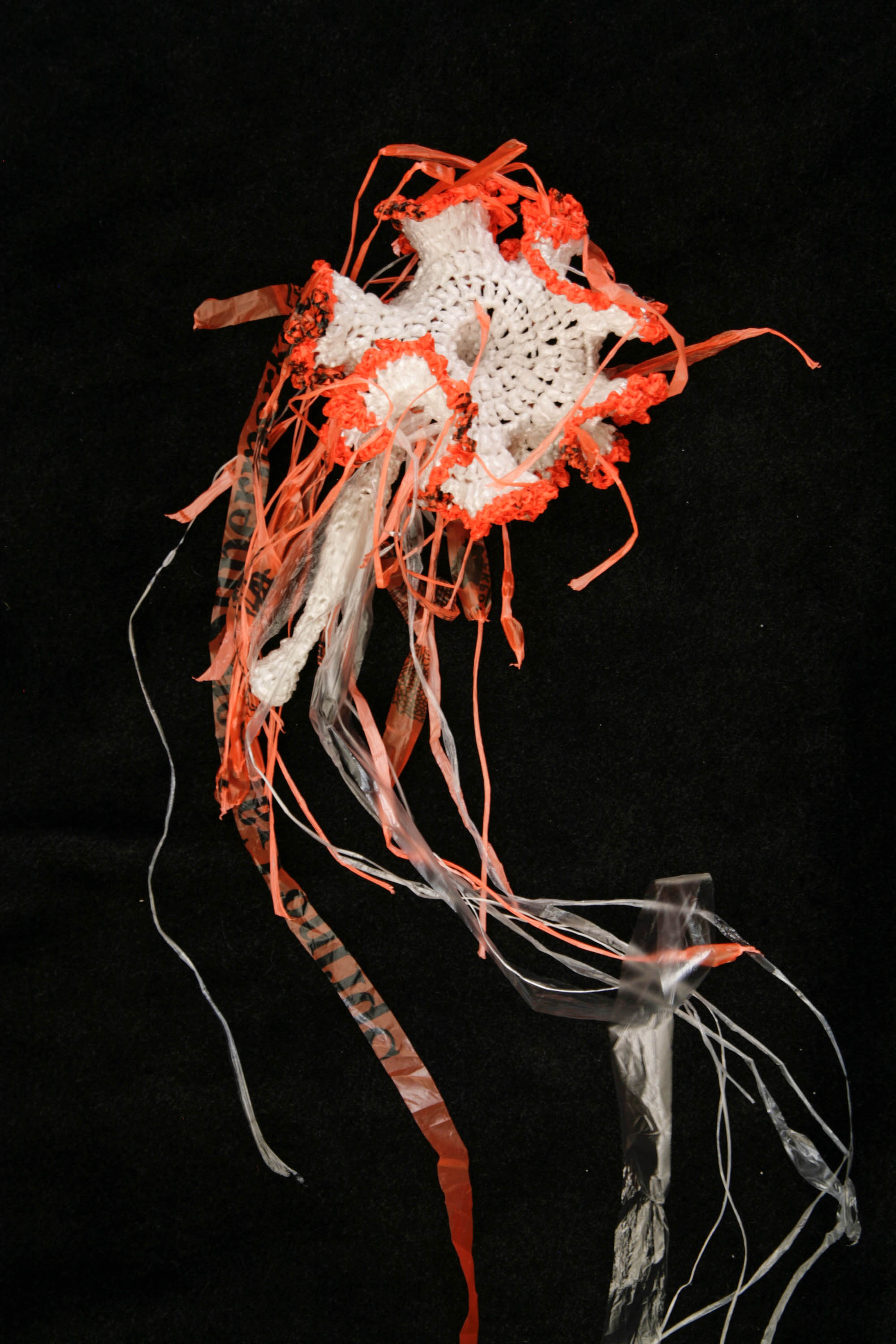 "Crocheted plastic jellyfish from the ""Crochet Coral Reef"" project by Margaret and Christine Wertheim and the Institute For Figuring."