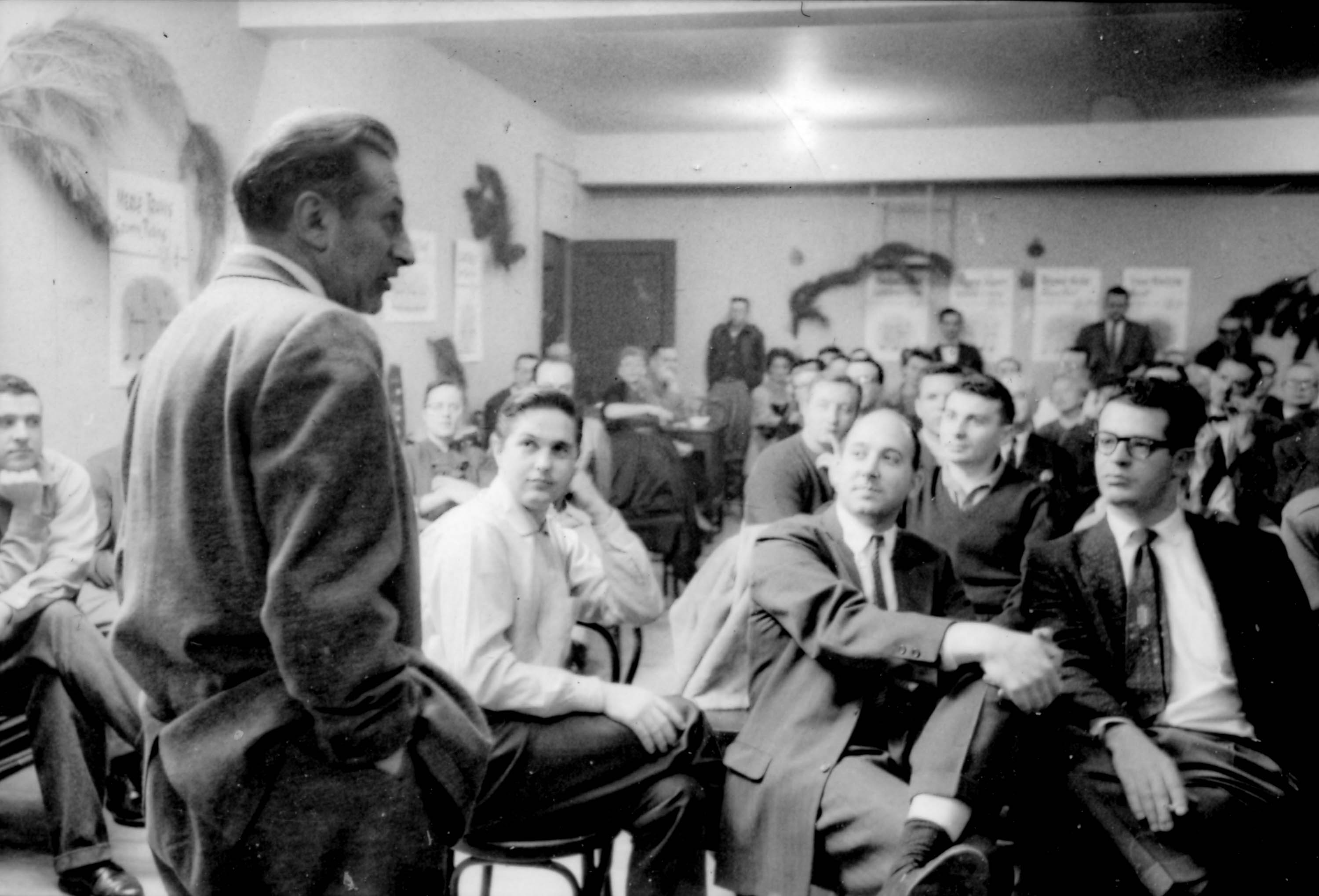 Studs Terkel addressing audience at the Old Town School of Folk Music opening night, Chicago, Illinois, December 1, 1957. <em>Chicago History Museum, ICHi-064028, Robert McCollough, photographer</em>
