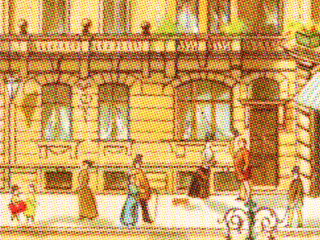 children's book illustration of a city street