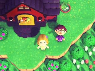 "Mark and Anne in front of Mark's home in ""Animal Crossing"""