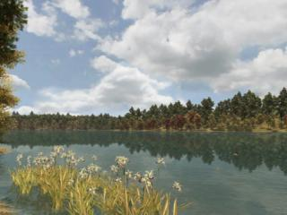 """Early fall on the pond in """"Walden, a game.""""USC Game Innovation Lab"""
