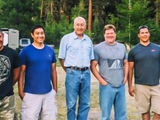 Kevin Goodan with all his brothers and step-father this summer.