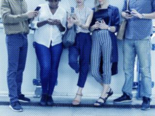 happy people social-ing on phones