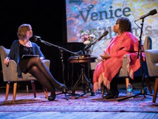 (Left to Right) Anne speaks with Venice Williams, executive director of the Alice's Garden urban farming project.