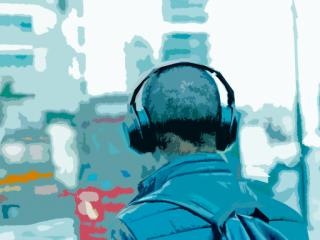 headphones in the city