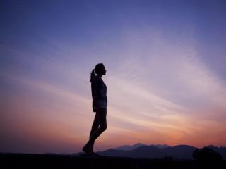 Woman at dusk