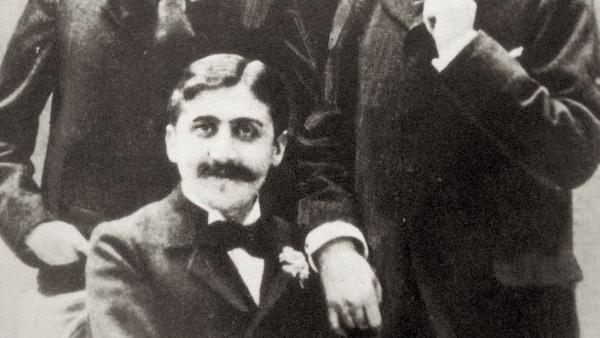 Marcel Proust (seated), Robert de Flers (left) and Lucien Daudet (right), ca. 1894