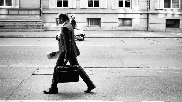 man walking to work