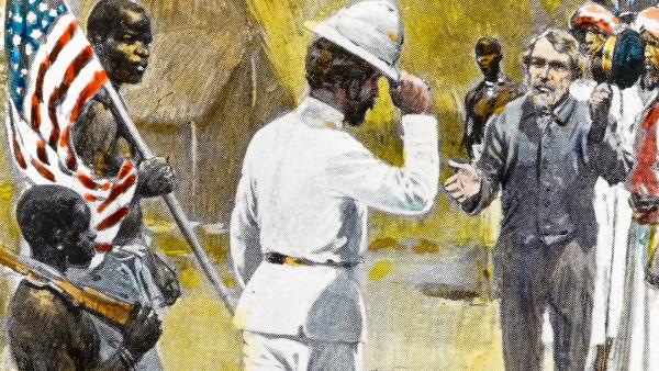 Henry Morton Stanley (center) meets David Livingstone (right)