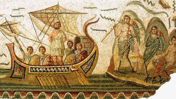 Ulixes mosaic at the Bardo Museum in Tunis, Tunisia. 2nd century AD.