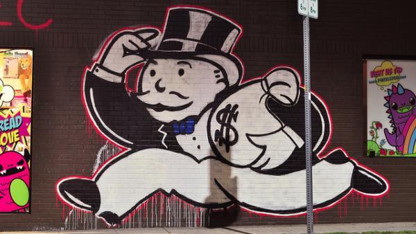 Mr. Moneybags Monopoly graffiti