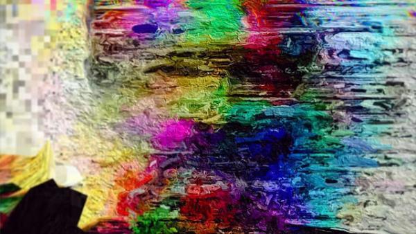 Blurred, glitchy, technicolor photo of Philip K. Dick's head