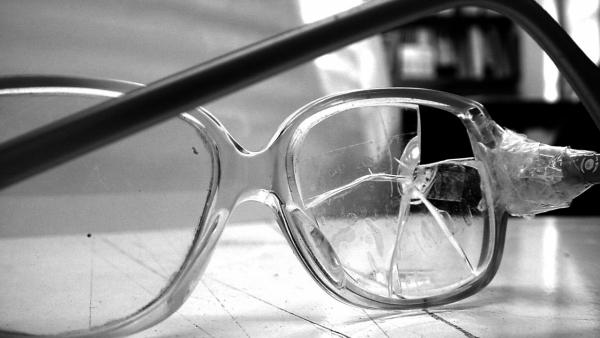 Cracked pair of glasses